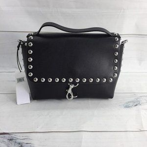 Blythe Studded Black Leather Cross Body Bag